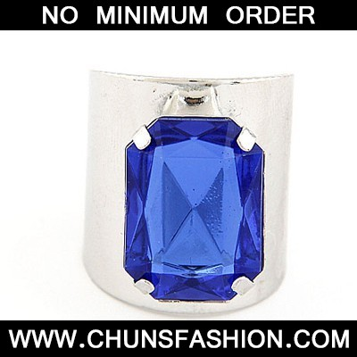 Silver Color&Sapphire Square Opening Ring