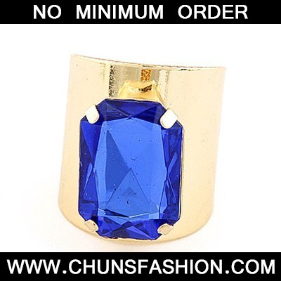 Gold Color&Sapphire Square Opening Ring