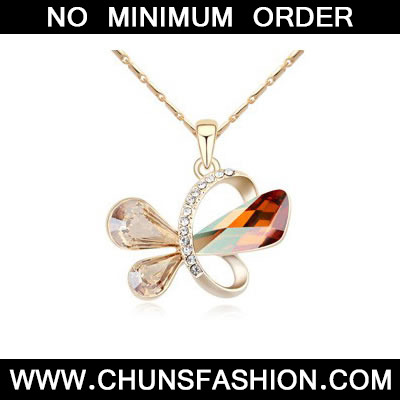 Crystal Copper&Champagne Gold Heart Shape Pendant
