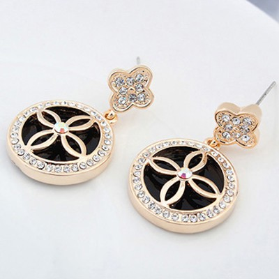 Black&Champagne Gold Four Leaf Clover Austrian Crystal