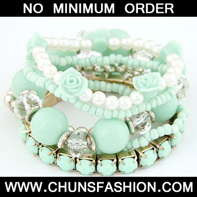 Light Green Flower Pearl Multilayer Elastic