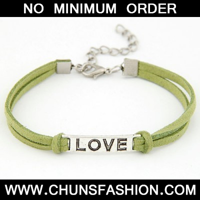 Green Metal Word Love Bracele