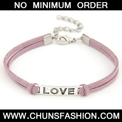 Dark Purple Metal Word Love Bracele