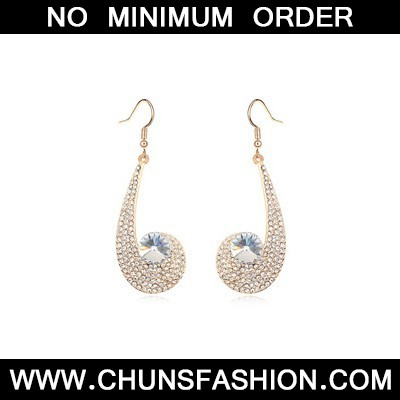 white CZ diamond unique Crystal Earring