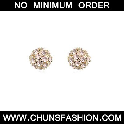 Pale peach CZ diamond ball shape