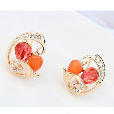 lotus red crystal stone Crystal Earring