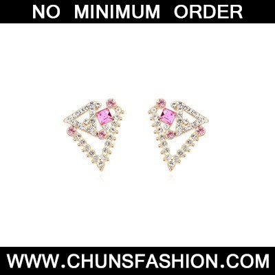 plum red geometrical shape Crystal Earring