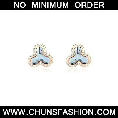 navy blue flower shape Crystal Earring