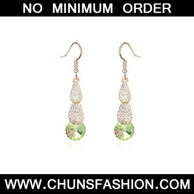 Fluorescent green crystal stone Crystal Earring