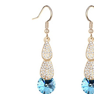 navy blue crystal stone Crystal Earring
