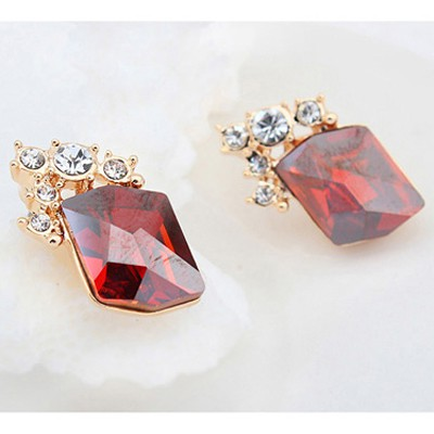 red&champagne gold diamond Crystal Earring