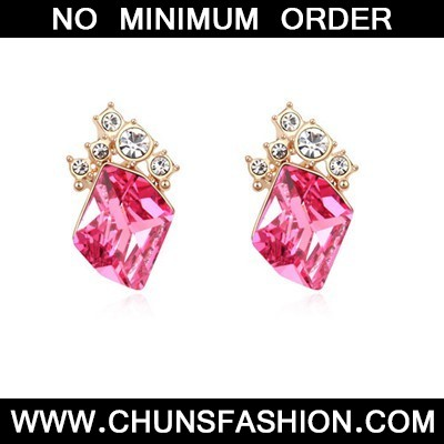 plum red&champagne gold diamond Crystal Earring