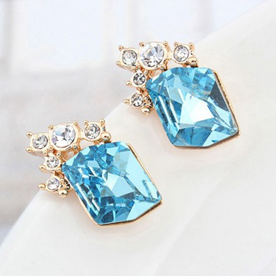 navy blue&champagne gold diamond Crystal Earring