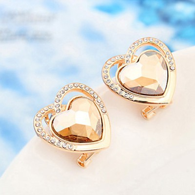champagne gold diamond heart shape Crystal