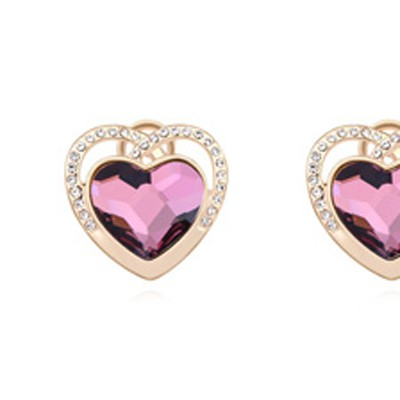 purple&champagne gold diamond heart shape Crystal