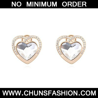 white &champagne gold diamond heart shape