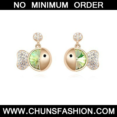 fluorescent green&champagne gold diamond fish shape