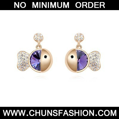 purple&champagne gold diamond fish shape Crystal