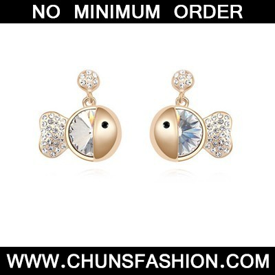 white &champagne gold diamond fish shape