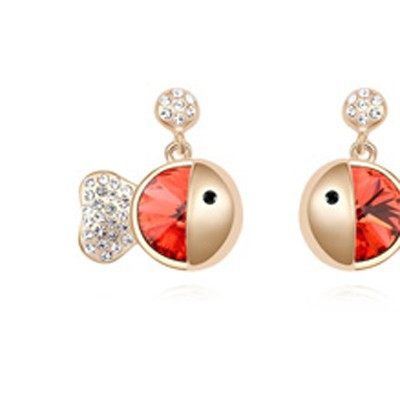 lotus red&champagne gold diamond fish shape