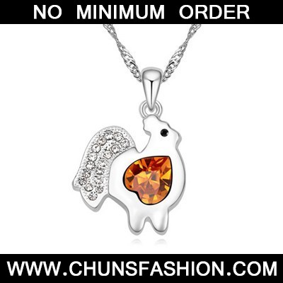 yellow diamond chicken pendant Crystal Necklace