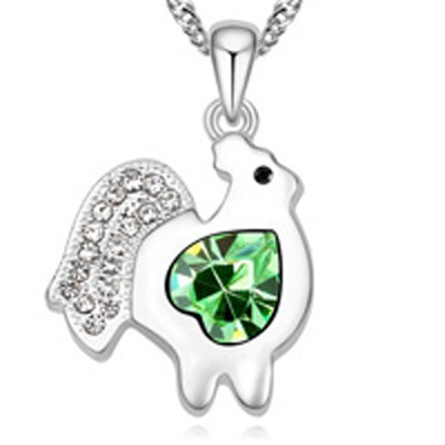 olive green diamond chicken pendant Crystal