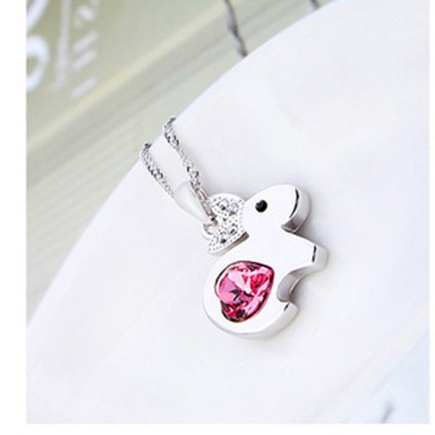 plum red diamond rabbit pendant Crystal
