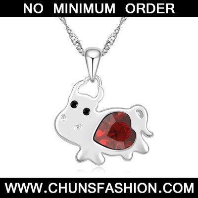 red diamond cow pendant Crystal Necklace