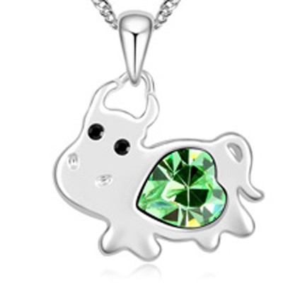 olive green diamond cow pendant Crystal