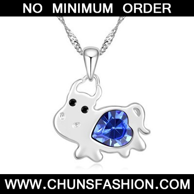blue diamond cow pendant Crystal Necklace