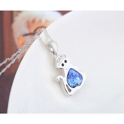 blue diamond monkey pendant Crystal Necklace