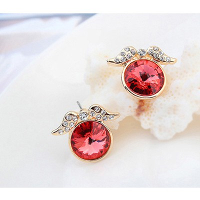 padparadscha&Champagnegold diamonddecoratedroundshapealloy Crystal Earring - Click Image to Close