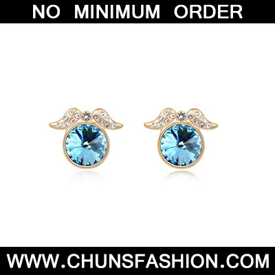 navyblue&Champagnegold diamonddecoratedroundshapealloy Crystal Earring
