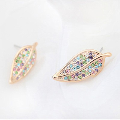 multicolor&Champagnegold diamonddecoratedleafshapealloy Crystal Earring