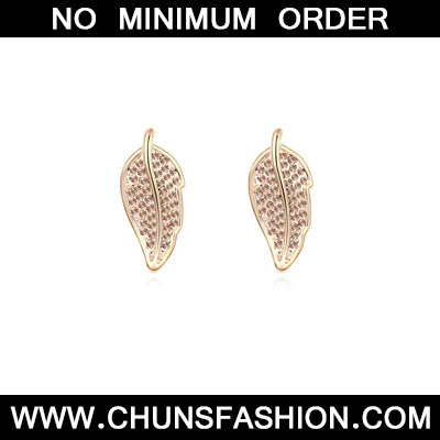 lightPeach&Champagnegold diamonddecoratedleafshapealloy Crystal Earring