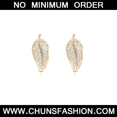 white&Champagnegold diamonddecoratedleafshapealloy Crystal Earring
