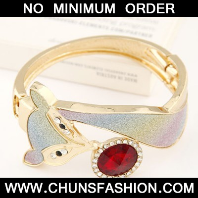claret red CZ diamond fox shape Bangle
