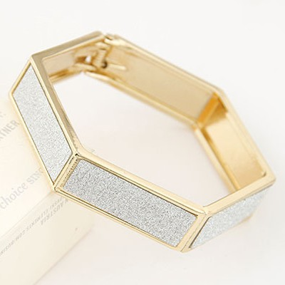 silver metal Hexagon Bangle