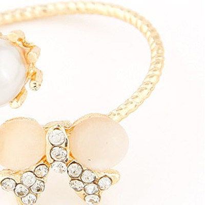 gold pearl bowknot shape Ring