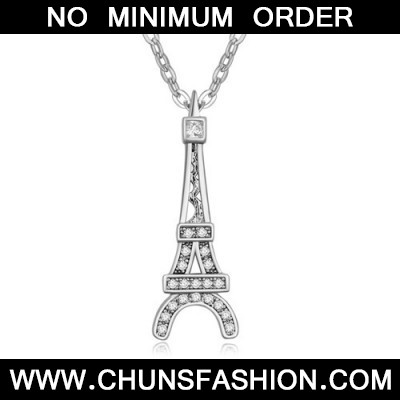 white Eiffel Tower pendant zircon Crystal