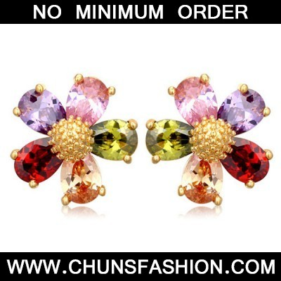 multiflower zircon Crystal Earring