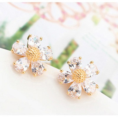 white flower zircon Crystal Earring