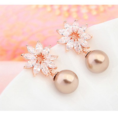 bronze & champagne gold pearl flower