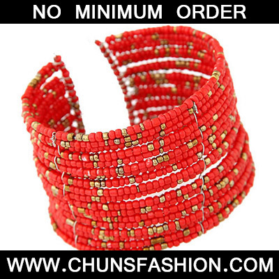 red beads multi layer Bangle