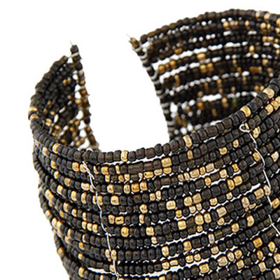 brown beads multi layer Bangle