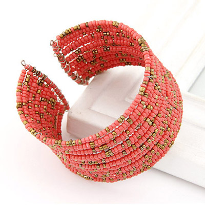 watermelon red beads multi layer Bangle