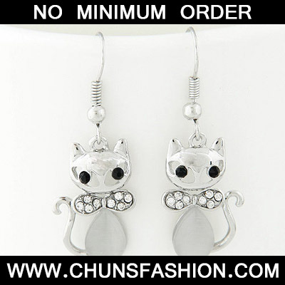 silver diamond cat shape Earring
