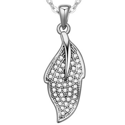 White Diamond Leaf Pendant Crystal Necklace
