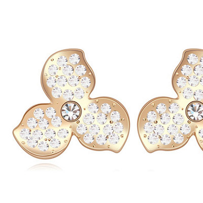 White & Champagne Gold Diamond Clover
