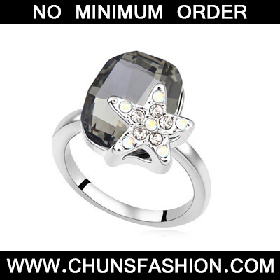 Black Diamond Star Shape Crystal Ring